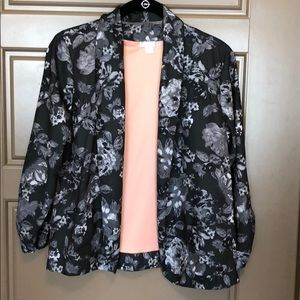 Gorgeous Grey Silk Flower Design Blazer
